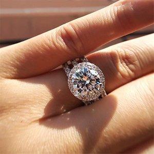 Couleur argent 925 bijoux ronde Bague en diamant pour les femmes Classique Huit HeartArrows 2 Carat Diamond Ring S925 pierres précieuses biżuteria