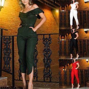 Hot Elegant Women High Waist Off Shoulder Slim Jumpsuit Ruffles Clubwear Playsuit Bodysuit Party Romper Long Trousers Streetwear