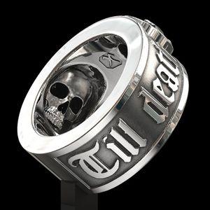 Till Death Do Us Part » Hip Hop en acier inoxydable de Mode Hommes Black Diamond Skull Punk Bague de fiançailles gothique Bijoux Taille 7 - 14