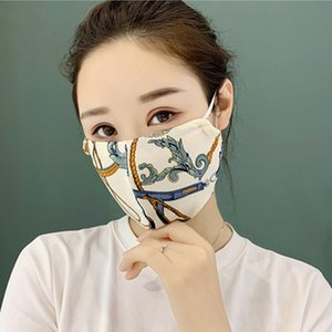 DHL Free Shipping Fashionable Sunscreen Satin Breathable Mask Printing Hanging Ear Type Dustproof Comfortable Mask Soft Thin Reusable Mask