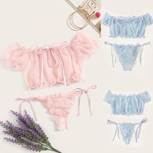 2020 Nova Exquisite Moda Mulheres Lingerie Corset malha Underwire Racy Muslin Sleepwear Underwear Tops + Briefs Nightwear S-XL Macio