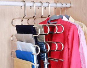 Hot Home Garden Magic Stainless Steel Trousers Hanger Multifunction Pants Closet Belt Holder Rack S-type 5 Layers Saving Space
