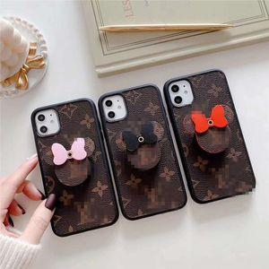 supporto del cellulare del mouse in pelle con cassa del telefono per l'iphone 11 Pro max casi di telefono di design di lusso 3 colori