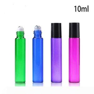 10ml Empty Glass Roll On Bottle Blue Red Green Roller Container 1 3OZ for Essential Oil, Aromatherapy, Perfumes and Lip Balms LX5814