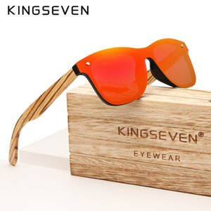 KINGSEVEN 2019 a mano Brand Design Zebra Occhiali da sole polarizzati Uomini / Donne lente a specchio Original Legno Eyewear Oculos de sol T200106