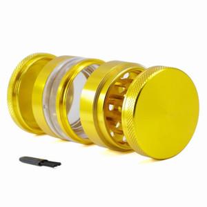 Tütün Bitkisel Öğütücü 4 kat 63mm alüminyum alaşım tozu pres alıcı Çıkarılabilir Ekran Şeffaf pencere metali DHL kıyma