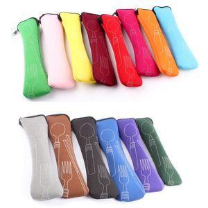 20x6 cm portátil colher de garfo de aço inoxidável de neoprene sacos de pauzinhos de viagem ourdoor camping ferramentas de talheres kit de talheres sacos