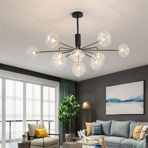 Altın / Siyah Metal Oturma odası Avize Aydınlatma Yemek odası Salon LED Sarkıt Temizle Cam Ev Çatı Asılı Lamba 110 V / 220 V