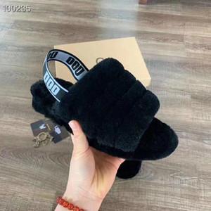 Designer de luxo Mulheres Sandálias Furry Slides Chinelos De Pele Com Plano Plana Chinelos De Lã Impressão Impressionante Cereja Em Pó Sim Botas 1 Par Real