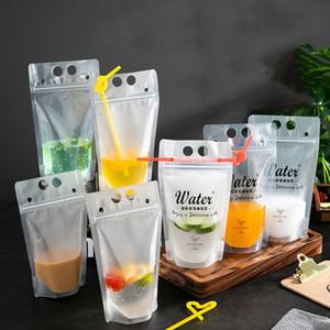 Transparente del sello auto Bebida Con la Bolsa de paja helada del plástico DIY Bebidas Beba jugo contenedor de bebida Bolsa de Fruit Party Drinks bolsa VT0437
