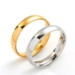 4mm Inner and Outer Arc Smooth Surface Titanium Steel Couple Rings Stainless Steel Rings for Women Men