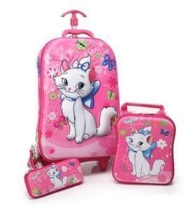 3d bambini borse scuola di rotolamento ragazza trolley per bambini custodia bambini viaggio valigia scuola mochila borse trolley per bambini con ruote Y19051701