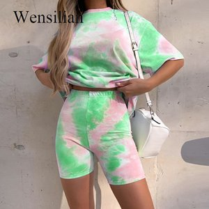 Two Piece Set Women T-shirt Print Basic Shorts Summmer Clothes for Women Casual Outfits Lounge Wear Jogging Femme Shorts T200630