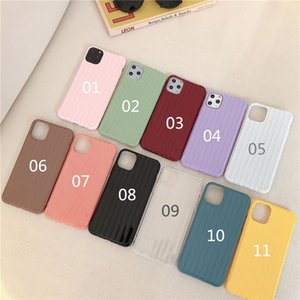 Applicable for iPhone 11Pro pure color painted striped luggage material mobile phone shell surface TPU corner anti-drop material