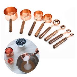 Rosa de acero inoxidable de oro de las tazas y cucharas de ingredientes líquidos secos cocina que cocina herramienta de medición JK2001