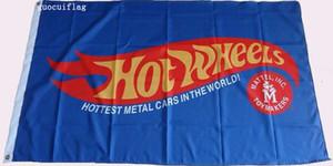 drapeau bleu de roues chaudes pour le service, bannière de voiture de roues chaudes, taille 90X150CM, 100% polyester