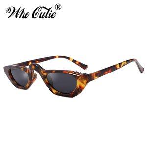 Venta al por mayor 2019 Unique Cat Eye Sunglasses Mujer Diseñador de la marca 90 s Vintage Leopard Narrow Cateye gafas de sol para mujer Shades OM829