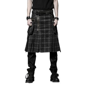 Brown Gothic Punk Scottish Kilt Kostüm Doppeltaschen Herren Röcke Gürtel Gitter Zopf Röcke Bilaterale Tasche Kette Röcke Y19042604