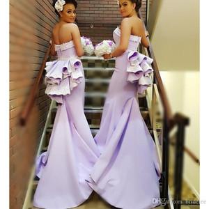 Robes de demoiselle d'honneur longue et courte de la lavande Sexy 2019 Nouveau Sweetheart balayer Train Blanc Dentelle Applique Formelle Robe de mariée Formel Robe de soirée personnalisée