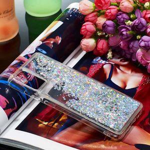 Anti-Scratch Glitter bling Etoiles Love Heart Liquide Quicksand Transparent Housse pour Samsung S9 S10 S20 Remarque 10 Plus A10 A20 A30 A40 A50 A