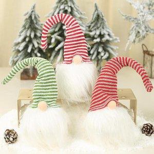 Plush Doll em forma de Natal Pendant Faceless Papai Noel com luz Luminous Gota Ornamentos Forest Garden Decoração do partido