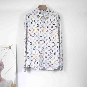 2020 Men's 3G Flower Tiger Print Mixed Color Luxury Casual Harajuku Shirt Long Sleeve Men's Medusa Shirt 3D M-3XL