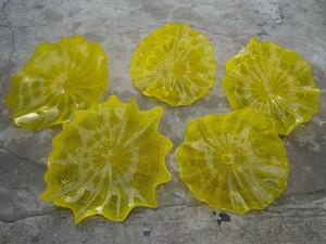 Modern Tabaklar Dekorasyon Sarı Duvar Işıklar Ev Fiyatı Hall Murano Glass Duvar Plates için