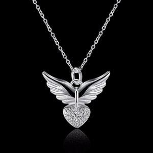 Hot Sale Silver Jewelry Love Angel Wings Necklace Dream Love Heart Crystal Zircon Necklace Women Birthday Present
