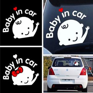Hot Sell Car-styling 3D Cartoon Stickers Baby In Car Warming Reflective Vinyl Car Sticker Baby on Board On Rear Windshield Car Accessories