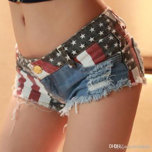 Summer Women's Denim Shorts Europe and America Style Start USA Flag Pattern Nightclubs Holes Ripped Sexy Hot Pants