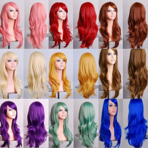 Perruques synthétiques lâche de vague de 70cm pour les femmes noires perruque Cosplay Blonde bleu rouge rose gris cheveux violets