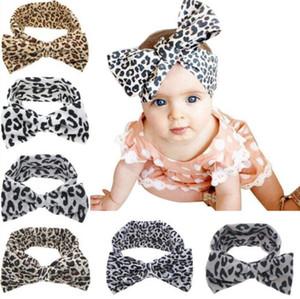 Stirnband-Baby-Mädchen Bowknot Leopard Stirnbandbogenart- elastische Baumwolle Haarreif Turban Kaninchen-Ohr-Kopf-Verpackungs Mode-Haar-Band Zubehör C260