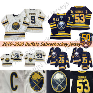 50th Golden Buffalo Sabres Jersey 9 Jack Eichel 26 Rasmus Dahlin 53 Jeff Skinner 55 Rasmus Ristolainen 23 Sam Reinhart Hockey Jerseys