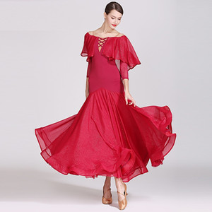 Dança de salão vestido de dança das mulheres desgaste ballroom waltz dancewear rumba trajes de dança de salão roupas de dança espanhola vestido de flamenco vestido