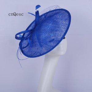 2019 Big Royal blue Cappello formale da donna Saucer fascinator cappello da sposa sinamay piuma fascinator per ballo di fine anno kentucky derby