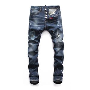 Jeans famosi jeans jeans Denim uomo Slim pantaloni denim pantaloni blu buco pantaloni jeans matita per gli uomini