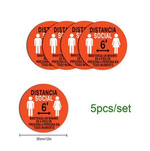 Zemin Çıkartma Zemin İşaret İzole Etiket Tut bekleyin İşte Sosyal Mesafenin Atölye İşaret 30cm Kayma Önleyici Stay Safe çıkartmaları 5 adet LJJO7966