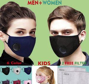 DHL rápido shiping máscara reutilizável lavável Rosto 6 cores substituível filtro de protecção da válvula do respirador Máscaras de algodão puro 2 Free Filtros