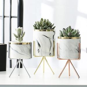 İskandinav Seramik Demir Sanat Vazo Mermer Desen Rose Gold Gümüş Masa Yeşil Bitki Saksı Home Office Vazolar Dekoratif Q190529