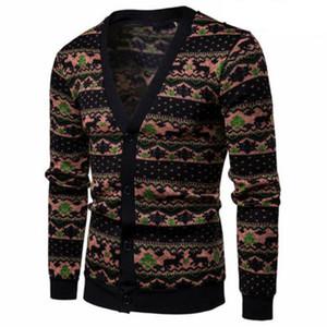 Homens Casual Sweater Slim Fit manga comprida malha Cardigan Trench Árvore de Natal de correspondência de cores Cardigan camisola dos homens