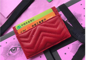 Top supporto di carta di qualità Card Holders Donna Uomo Nero agnello Mini Portafogli Coin tasca borsa Tasca interna della scanalatura Genuine Leather Camellia