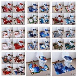 3pcs / set asiento del inodoro de Navidad Alfombras cubierta alfombras de baño antideslizante cuarto de baño fijados Aseo Ducha Alfombras Decoración de Navidad Pad nueva GGA2798