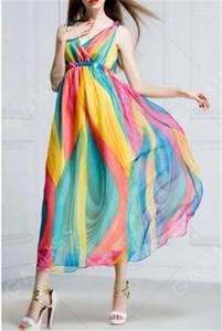 Casual vestidos de manera ocasional para mujer Ropa de verano Wommer diseñador de la gasa vestidos de cuello en V profundo atractivo sin mangas Mujer