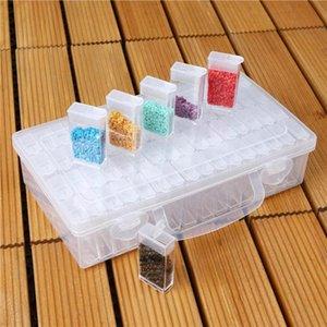 64 Slots Garrafas Diamante Pintura Nail Caixa de armazenamento de plástico Art Organizer Rhinestone Bead Container Acessórios