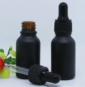 15 ml fosco preto frasco conta-gotas de vidro fosco preto e líquido garrafa com ouro prata preto branco cap para perfume óleo essencial