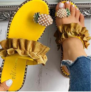 Fabrika doğrudan kadın ayakkabı göndermek için ücretsiz yaz sandalet plaj ananas düz terlik dışında terlik ayakkabı boncuklu büyük boy