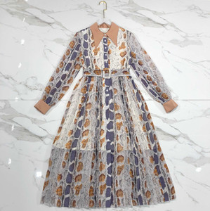 Миланское платье на взлетно-посадочной полосе 2020 дизайнер Python Lines Sequins Print Женские платья Высококатание отворотки шеи с длинным рукавом Vestidos de Festa 01909