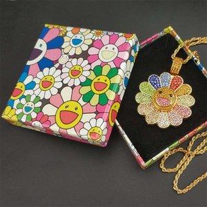 GLACÉ cubique Zircon de tournesol Pendentif Styliste Fleur colorée Pétale Smiley Hip Hop Rotating Collier avec la boîte