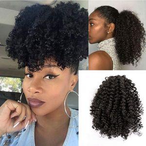 Curto Afro Kinky Curly rabo de cavalo indiano pedaço de cabelo com cordão sopro humain Curly Ponytail extensão do cabelo para Africano Mulheres Preto # 1b preto
