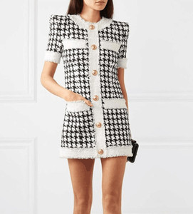 Yeni Stil Premium Elbise En Kaliteli Orijinal Tasarım kadın Ham Kenar Houndstooth Elbise Burrs Tüvit Kariyer Elbise